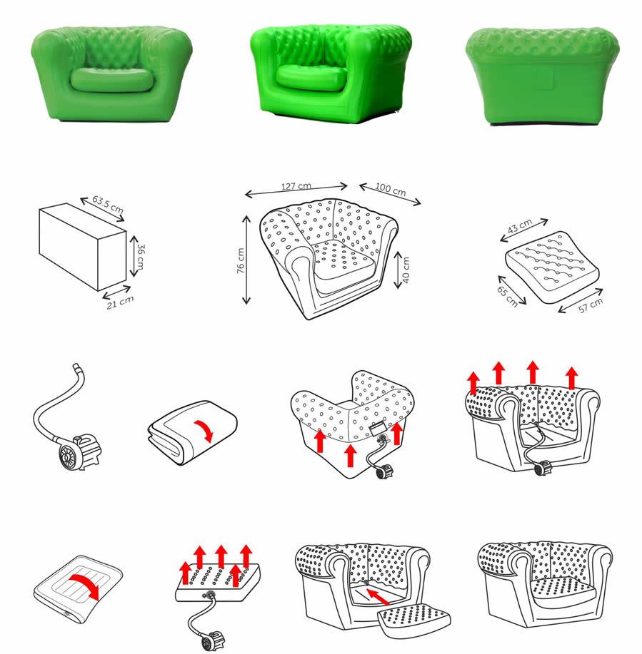 Vendita poltrone e sofa gonfiabili per interni ed esterni for Poltrone e sofa punti vendita