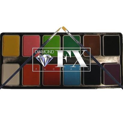 Tavolozza 12 colori essenziali 6 gr l'uno non intercambiabili con 2 pennelli