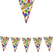Festone Bandierine in plastica 600 x 25 cm - Festone Buon Compleanno Happy Balloons