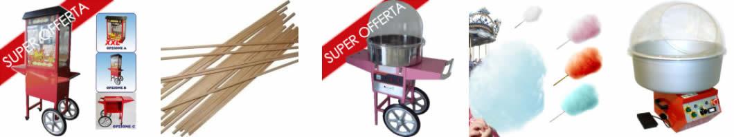Macchina Pop-Corn e Macchina-Carretto Zucchero Filato e Aromi Zucchero Filato