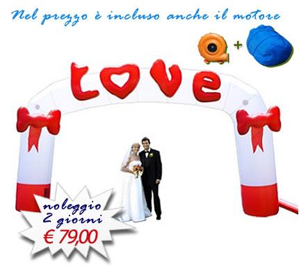 Arco gonfiabile LOVE per matrimonio, anniversari, ricorrenze o eventi a tema
