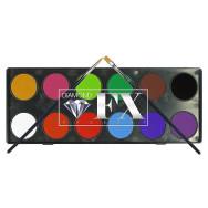 Tavolozza 12 colori essenziali 10 gr l'uno intercambiabili con due pennelli